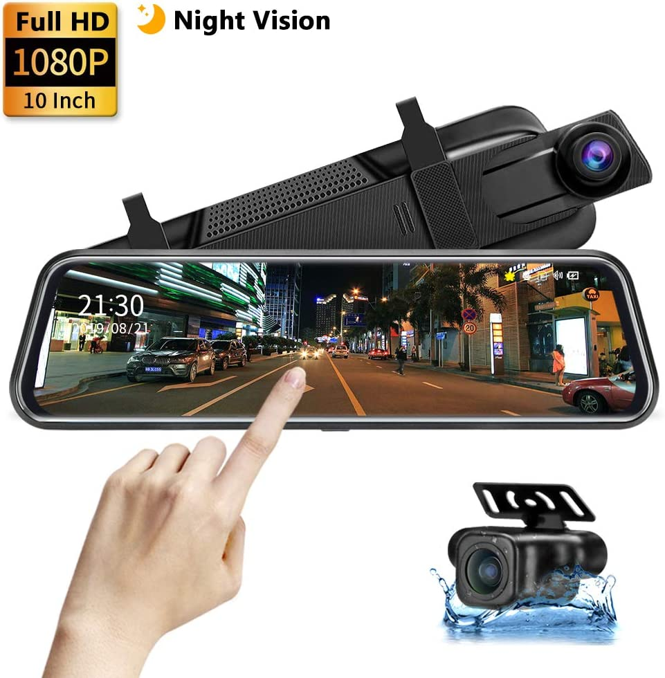 "【Upgrade】 Backup Camera 10"" Mirror Dash Cam 1080P Night Vision Front and Rear Full Touch Screen with Loop Recording Streaming Media Car Rearview Recorder 170° Wide Angle"