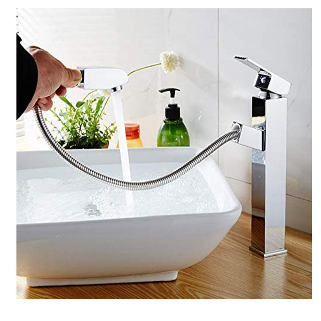 Edelstahlhahn weiße Chrombadhahnbasin Hot And Cold Copper Telescopic Bathroom Basin Bathroom Cabinet Washbasin A-1