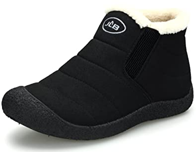 Clarsunny Womens Casual Suede Fur-Lined Slip-On Ankle Warm Couples Snow Boots