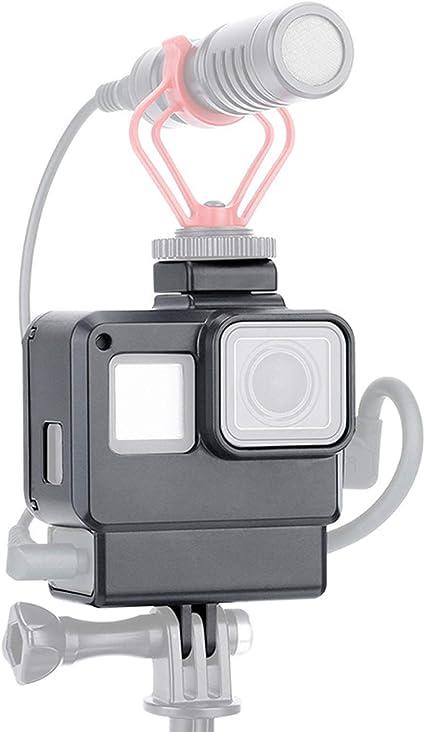 LICHIFIT V2 Vlog Funda protectora Carcasa Caja de carcasa Compatible para GoPro Hero 7/6/5 Cámara de acción Adaptador de micrófono Vlogging Cage Frame con montaje de zapata fría: Amazon.es: Electrónica