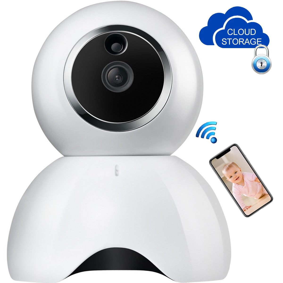 Baby Monitor,Home security IP camera,AUSCREZICON 960PDay&Night,Motion Alarm Pan/Tilt,Zoomable,support Max 64G SD Card and Cloud Storage,APP by AUSCREZICON