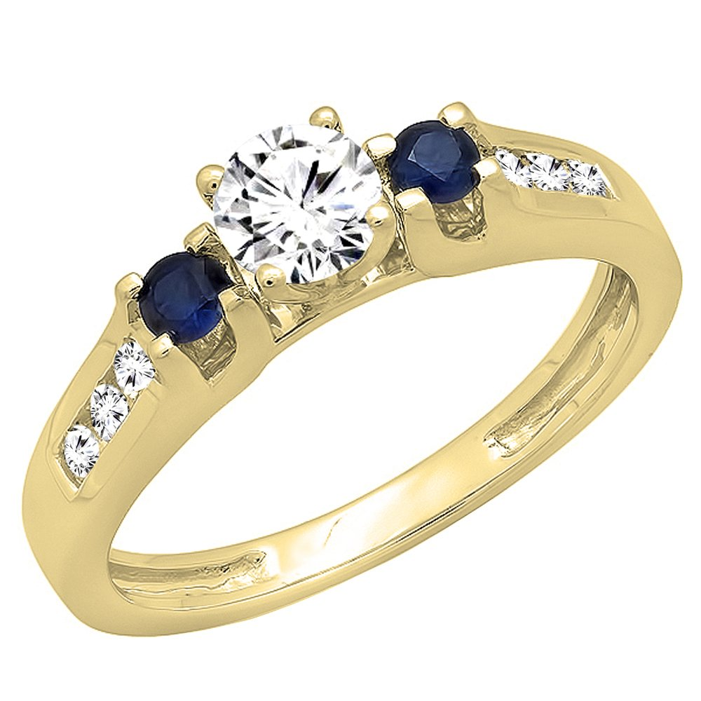Dazzlingrock Collection 14K Round White & Blue Sapphire & Diamond Bridal Engagement Ring, Yellow Gold, Size 6.5