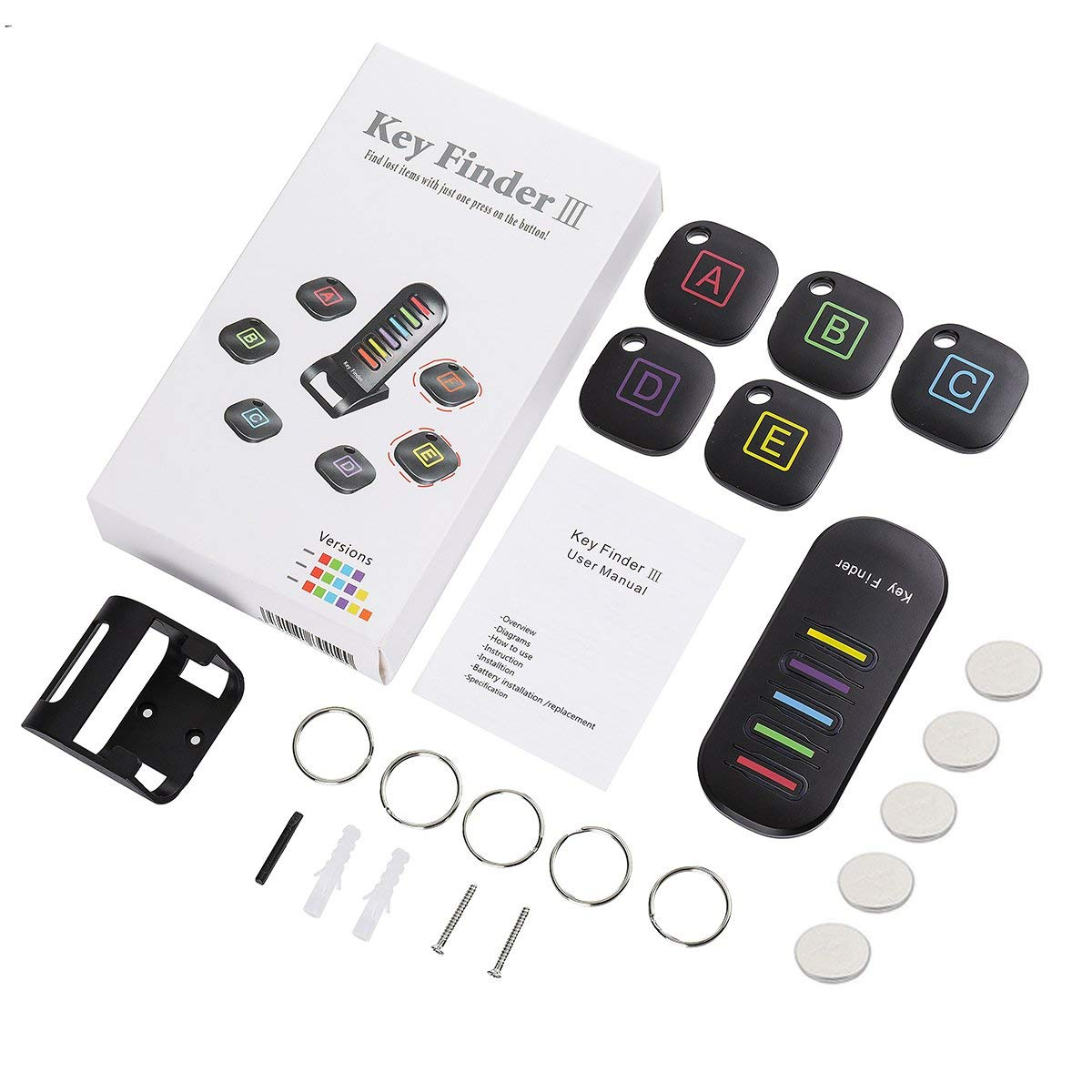 Luggage Pet Cell Phone EIVOTOR Key Finder 5 Receivers Small Things- Keychain Included Key Tracker for Key Purse Wireless Item Locator Item Tracker with Anti Lost Alarm,1 RF Transmitter