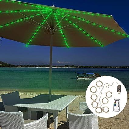 Amazon Com Siboter Umbrella Lights Patio Outdoor String Lights Led