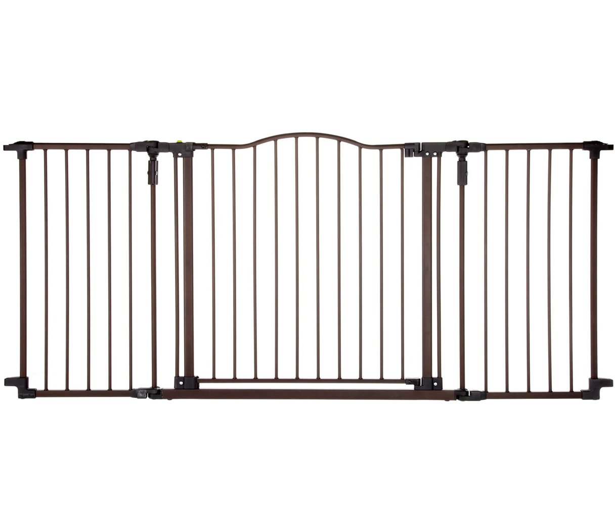''Deluxe Décor Gate'' by North States: Fits extra-wide openings and has matte finish on heavy-duty metal for safety and functionality. Hardware mount. Fits openings 38.3'' to 72'' wide (30'' tall, Bronze)