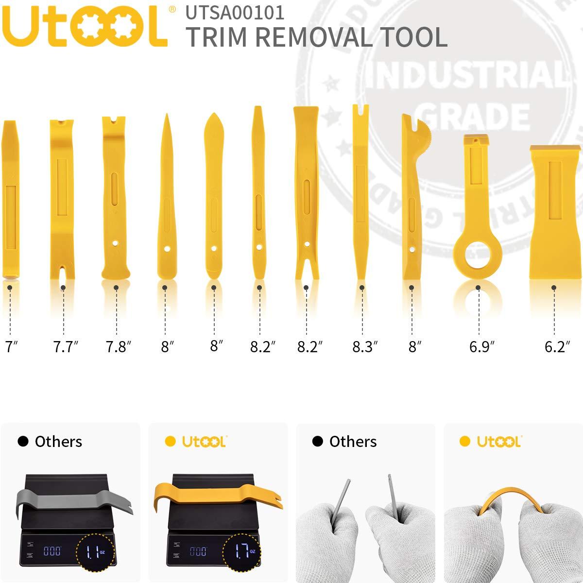 UTOOL Kit de herramientas de extracci/ón de molduras Pro 18 piezas para la extracci/ón de panel de la puerta del auto con alicates de extracci/ón de clip y herramientas de extracci/ón de audio est/éreo de radio