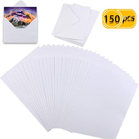6 by 9 Inches TecUnite 120 Sheets Cotton Watercolor Paper Bulk Cold Press Paper Pack for Watercolorist Students Beginning Artists