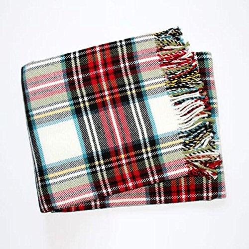 Ben and Jonah Classic Tartan Plaid Throw Blanket (Cream)