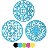 'ME.FAN 3 Set Silicone Multi-Use Intricately Carved Trivet Mat - Flexible Durable Non Slip (Blue)' from the web at 'https://images-na.ssl-images-amazon.com/images/I/615TH0n7UWL._AC_SR160,160_.jpg'