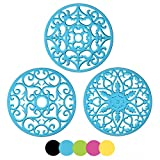 ME.FAN 3 Set Silicone Multi-Use Intricately Carved Trivet Mat - Flexible Durable Non Slip (Blue)