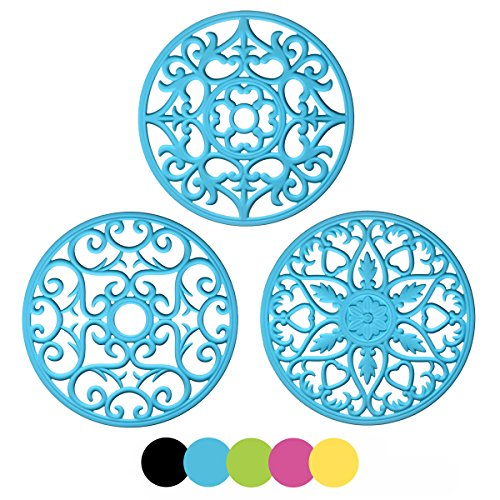(ME.FAN 3 Set Silicone Multi-Use Intricately Carved Trivet Mat - Flexible Durable Non Slip)