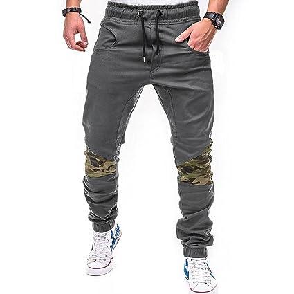 LuckyGirls Pantalones Hombres Chandal Camuflaje Patchwork Color de Hechizo  Casuales Slim Fit Playa Ajustable Pantalón de b0f801e203f