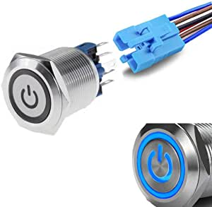 WerFamily Power Symbol 12V Blue LED 22mm Latching Push Button Switch 1NO 1NC SPDT ON/Off Waterproof Stainless Steel Metal Round with Wire Socket Plug