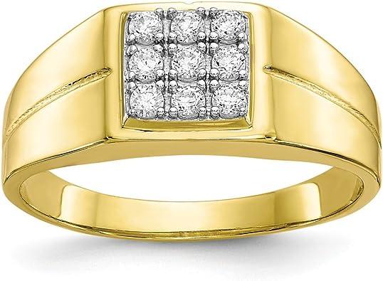 Jewels By Lux Anillo de 10K Cz para Hombre 5: Amazon.es: Joyería