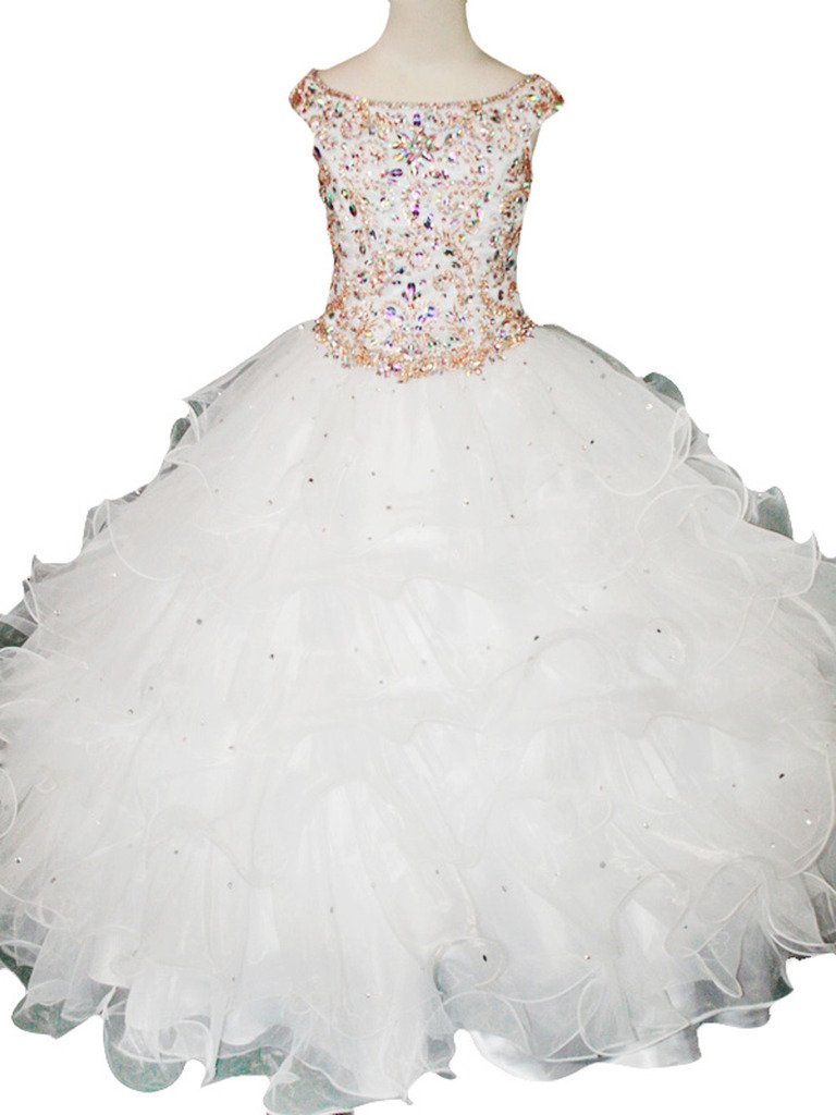 MCandy Big Flower Girl's Wedding Party Bridesmaid Long Pageant Dress 16 US White