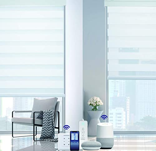 VIDEMA Motorized Zebra Window Shades Light Filtering Remote Control Roller Sheer Blinds Wireless Rechargeable Customized Size