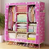 Generic Brand New Super Large Fashion Reinforced Folding Wardrobe Oxford Cloth Wooden Double Closet Fully Enclosed Armoire