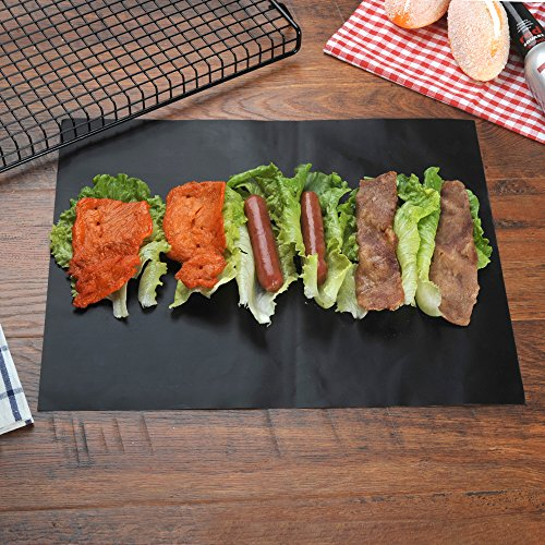 LAMGELIA BBQ Grill Mat (Set of 3) - Heavy-Duty Non-Stick BBQ & Grilling Sheet - Best Barbecue Accessories Grill Pad Works great With Gas, Electric, Charcoal Grills - 15.75 x 13 Inch
