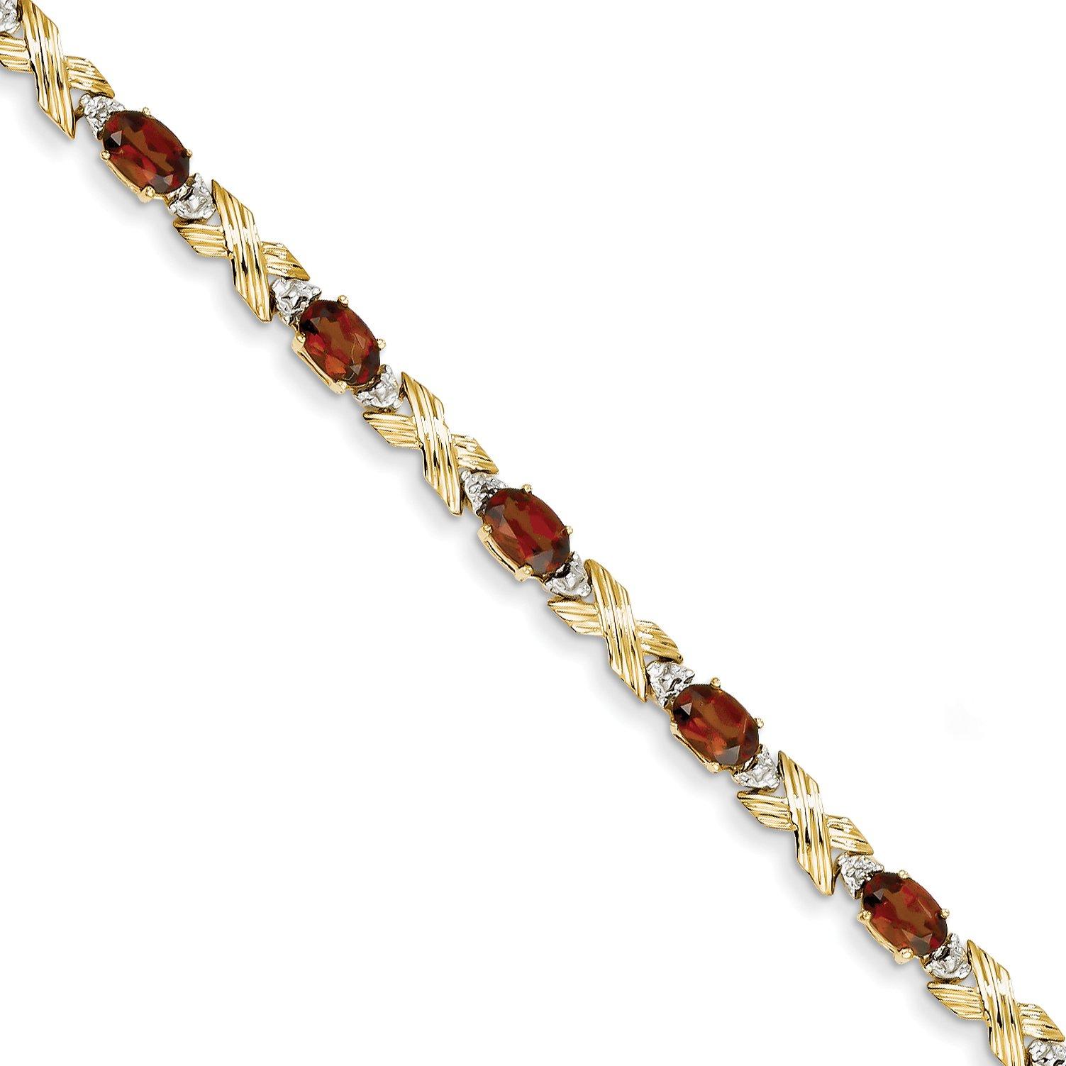 ICE CARATS 14k Yellow Gold Red Garnet Diamond Bracelet 7 Inch Gemstone Fine Jewelry Gift Set For Women Heart