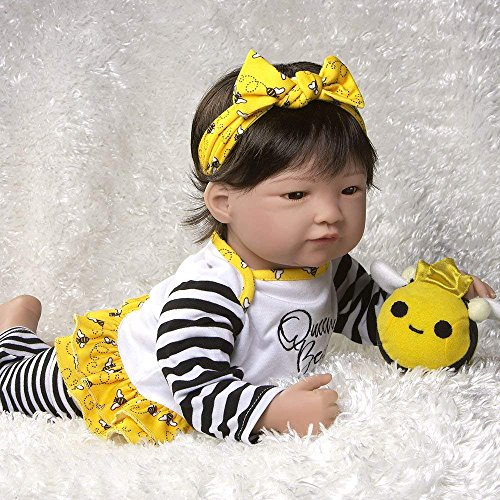 Paradise Galleries Reborn Asian Baby Doll Queen Bee, 20 inch Girl in GentleTouch Vinyl & Weighted Body, 6-Piece Gift ()