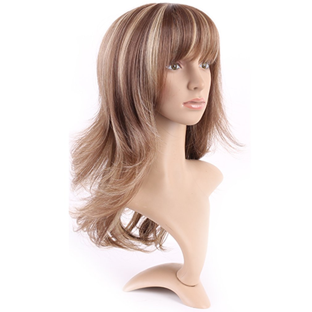 Curly Synthetic Wig with Bangs 15 Styles Heat Resistant Full Wig Long Hair Full Head 15 / 15 inch+Stretchable Elastic Wig Net for Women Girls ...