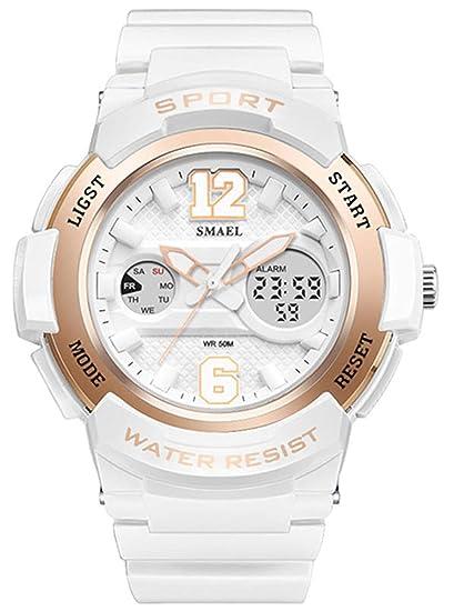 Reloj digital para niña de moda, bonito reloj analógico para niña, resistente al agua, pantalla doble, reloj de pulsera LED, oro rosa: Amazon.es: Relojes