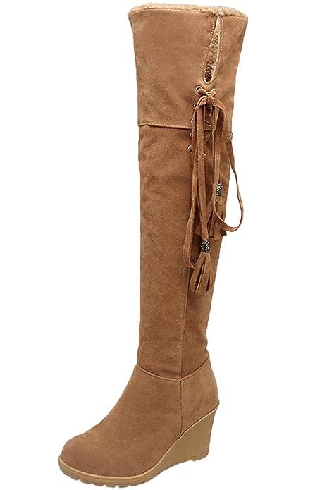20b524351d BIGTREE Rodilla Botas Altas Mujer Casual Cordones Otoño Invierno Cuña  Cómodo Cálidas Botas largas De  Amazon.es  Zapatos y complementos