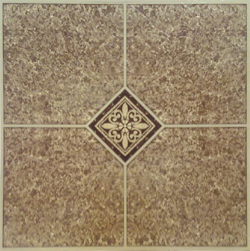 Home Dynamix Vinyl Tile, 12 by 12-Inch, Brown, Box of 20