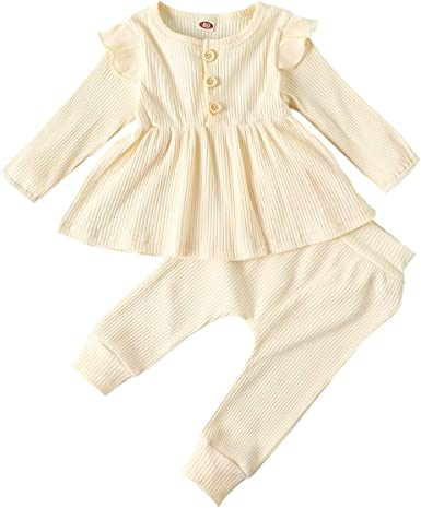 Long Pants Fall Winter Outfits for Girl Toddler Baby Girls Clothes Infant Long Sleeve Ruffles Shirt Tops