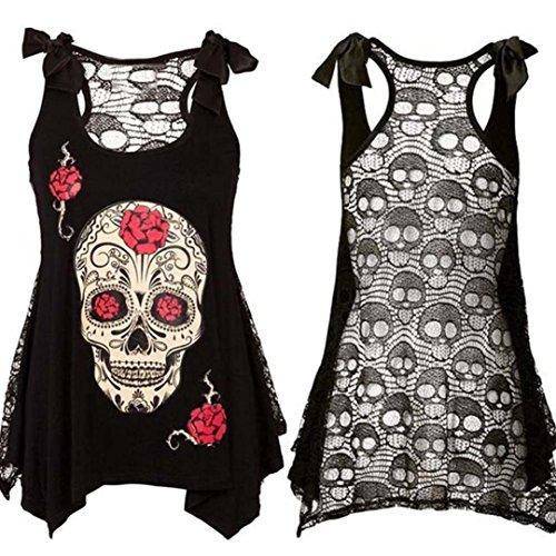 2017 New Summer Women Loose Lace Shirt ONEMORES(TM) Skull Print Camisole Patchwork Bandages Casual Tank Top (XXL, Black)