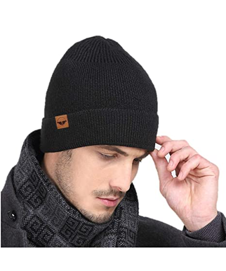 be4c6f2cb468b AMAKU Men   Women Beanie Hat Winter Skull Cap with Warm Fleece Lining  (Black)