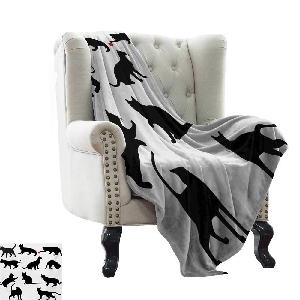 color01 35\ color01 35\ BelleAckerman Dog Blanket Cat,Silhouette of Kittens in Various Postures Playing Red Ball Animal Pet Paw Print,Vermilion Black Warm & Hypoallergenic Washable Couch Bed Throws, Microfiber 35 x60