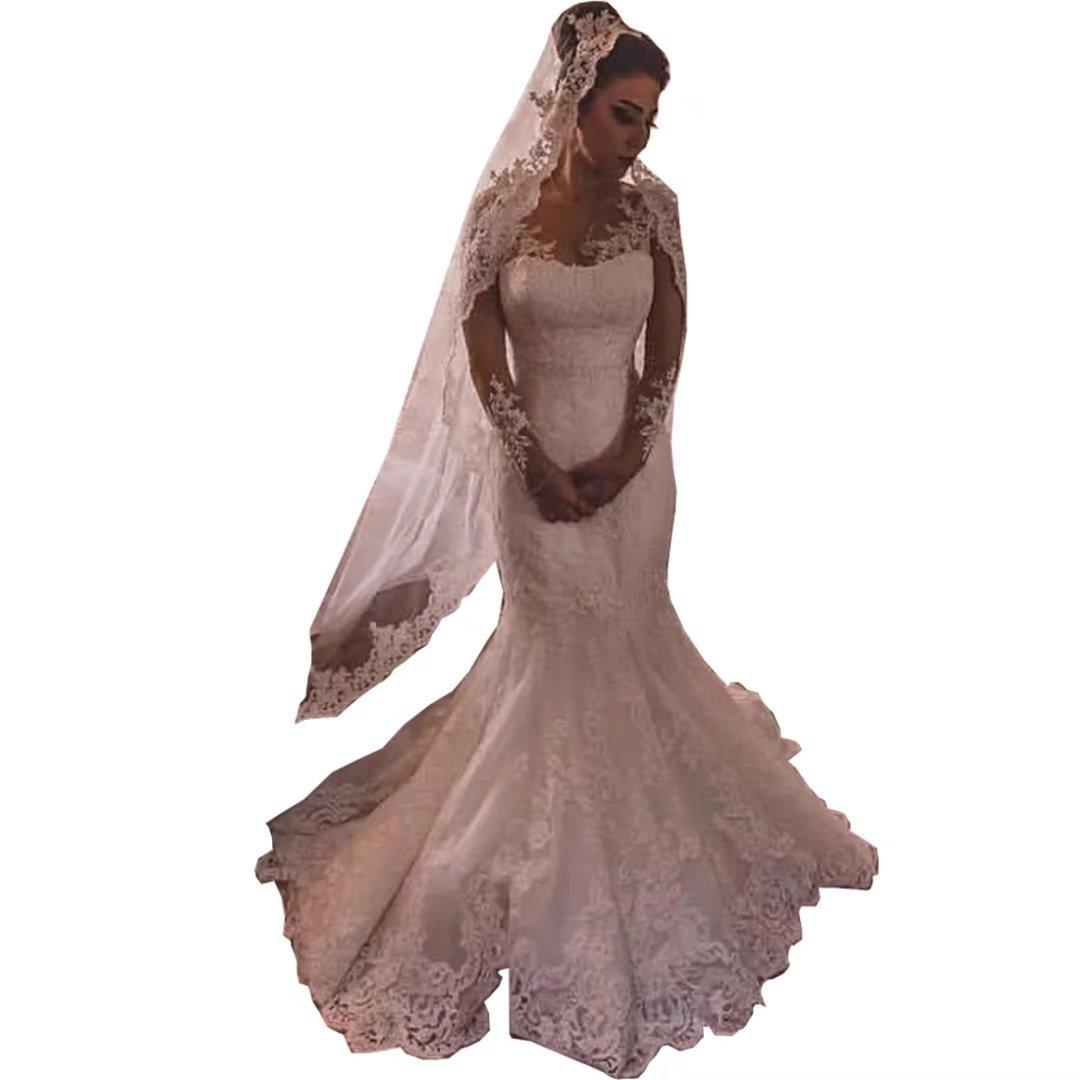 Chady Romantic Lace Mermaid Wedding Dresses 2018 Long Sleeves Sheer Crew Neck Vintage Bride Gowns