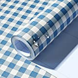 Self Adhesive Plaid Pattern Decorative Vinyl Contact Paper Drawer Shelf Liner for Cabinets Dresser Counter Wall Arts and Crafts Decor (Blue, 24″ Wx117″ L)