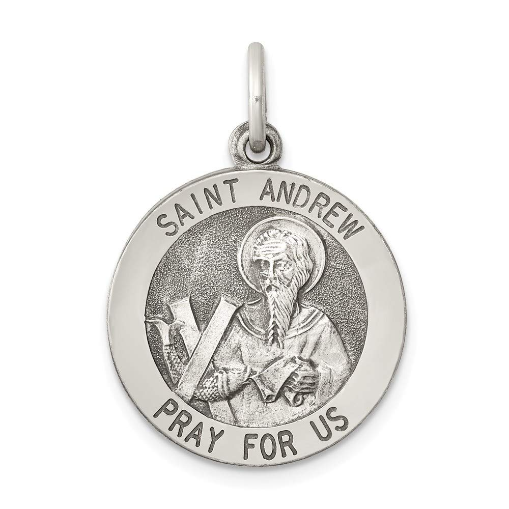 925 Sterling Silver Solid Satin Engravable Antique finish Antiqued Saint Andrew Medal Pendant