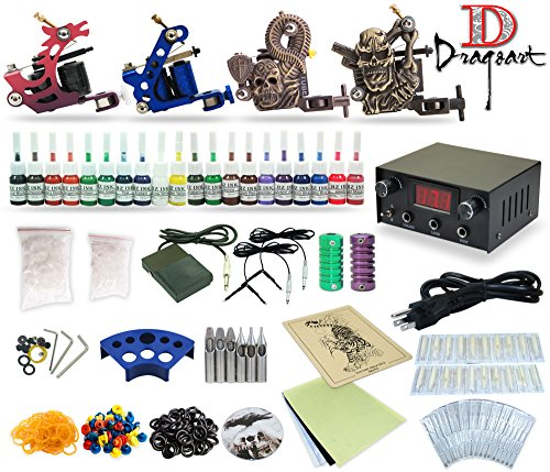 Complete Tattoo Kit 4 machine Gun 20 Color Inks Power Supply