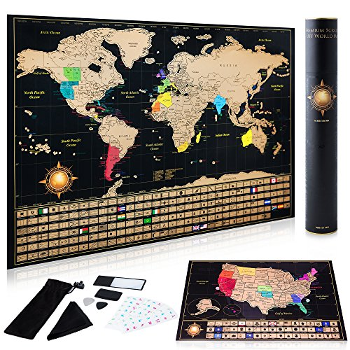 Scratch off World Map Poster + Deluxe United States Map INCLUDES Complete Accessories Set & All Country Flags  Premium Wall Art Gift for the Loved Ones  BONUS USA Travelers eBook