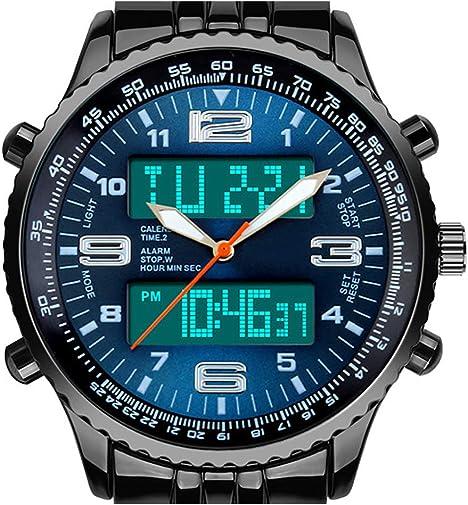 VIGOROSO Men s LED Analog Digital Date Week Sports Outdoor Steel Blue Dial Watch