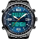 VIGOROSO Men's LED Analog Digital Date Week Sports Outdoor Steel Blue Dial Watch