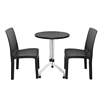 Amazon kingdoor 3 piece resin outdoor patio furniture dining kingdoor 3 piece resin outdoor patio furniture dining garden bar detachable chair and round table with watchthetrailerfo
