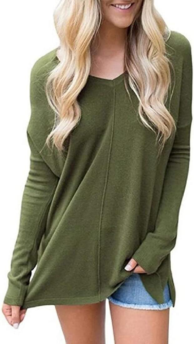 Rrive Womens T-Shirts Solid Long Sleeve V-Neck Casual Blouse T-Shirt Top