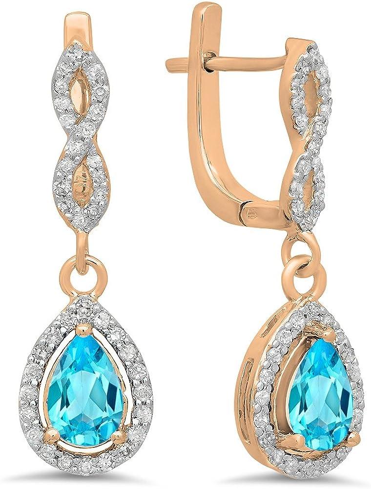 14ct oro rosa corte de pera Azul Topacio y corte redondo blanco diamante señoras Halo pendientes de gota colgando
