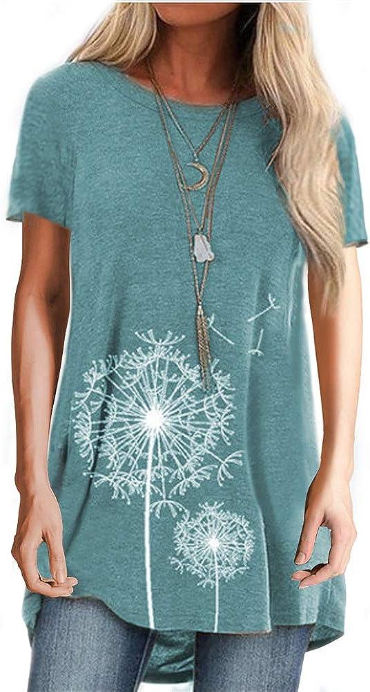 Onsoyours T-Shirt Donna Stampa Tarassaco Maniche Corte Maglietta Casual Tops Tinta Unita Girocollo Confortevole Camicetta Tee Ragazza Blusa Shirt