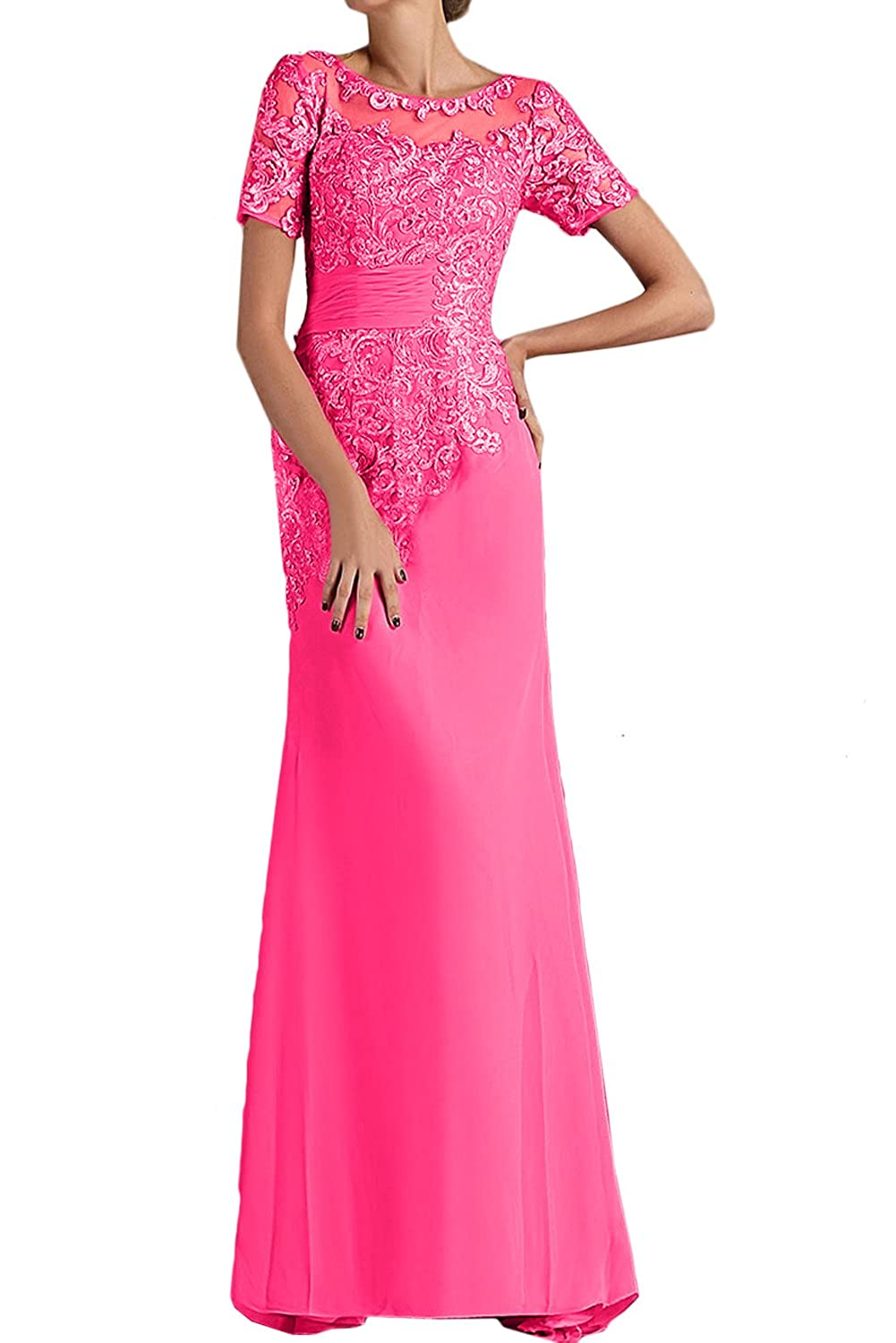 DressyMe Womens Lace Long Party Dresses A-Line Short Sleeves Wedding Dress
