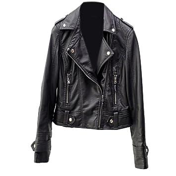 Motard Pu Noir Manteau Punk Femme Souple Cuir Veste Fin Moto Vintage I81nHwqCxn