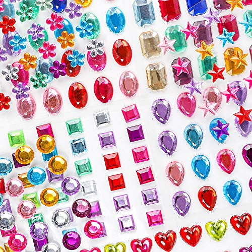 Holicolor 390 Pcs Rhinestones Stickers Self-Adhesive Muticolor Adhesive Jewels Stickers Crystal Gems Flatback Rhinestone for Crafts, Assorted Size