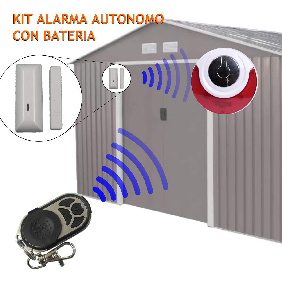 Kit alarma autonomo Sirena inalambrica bateria detector y mando