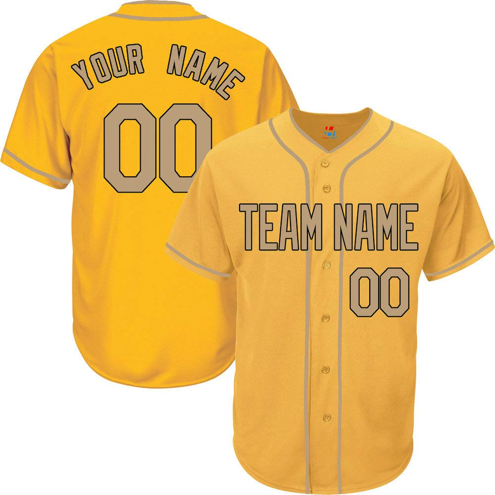Yellow Custom Baseball Jersey for Men Button Down Personalized Team Player Name & Numbers,Gold-Black Size S