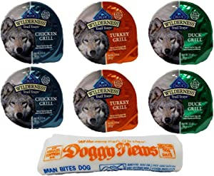 Blue Buffalo Wilderness Grain Free Trail Trays Dog Food 3 Flavor Variety 6 Can with Toy Bundle, 2 Each: Chicken, Turkey, Duck (3.5 Ounces)