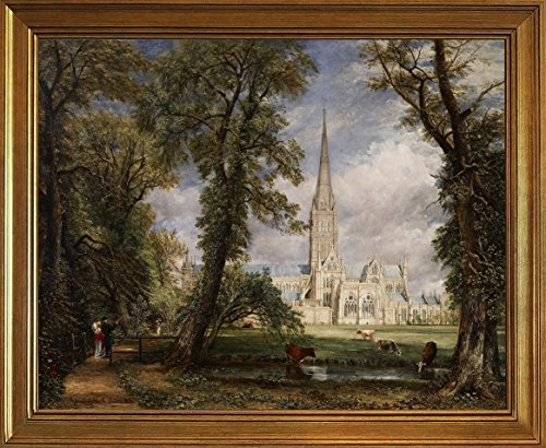 Berkin Arts Framed John Constable Giclee Canvas Print Paintings Poster Reproduction(Salisbury Cathedral from the Bishop's Garden)